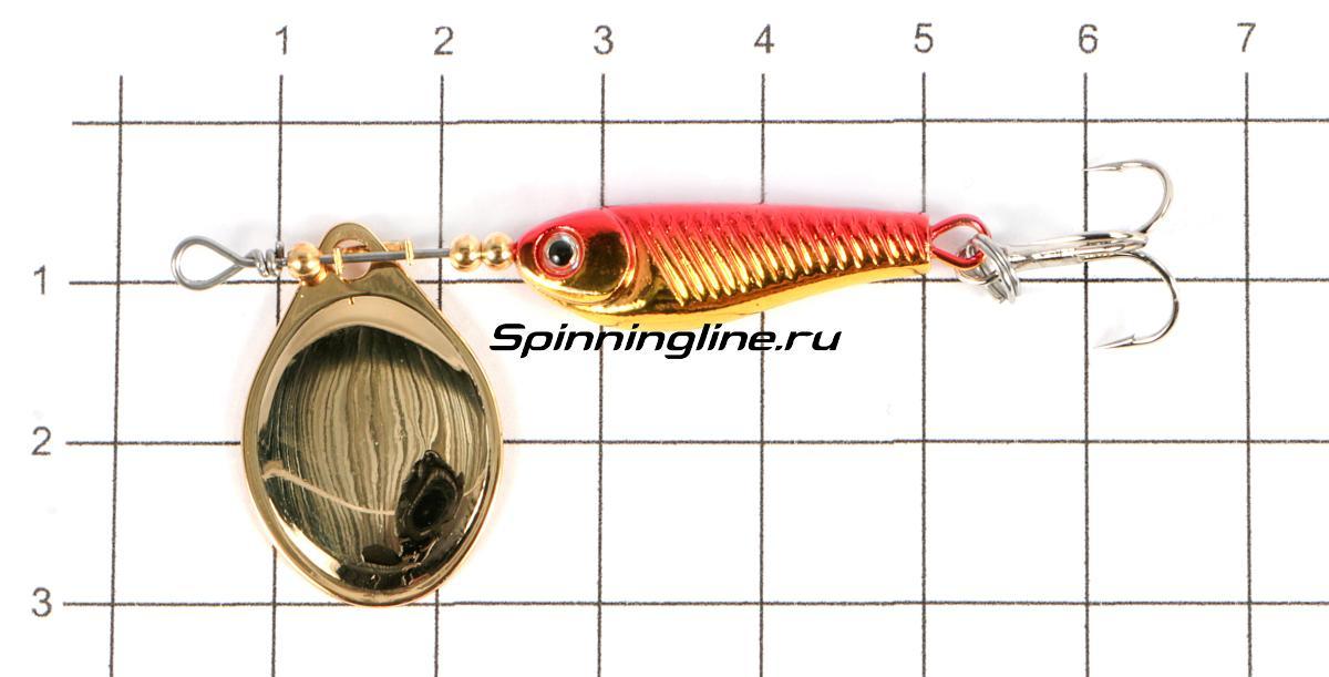 Блесна Daiwa Silver Creek SPINNER(R)1060-C akakin - фото на размерной линейке (цвет может отличаться) 1