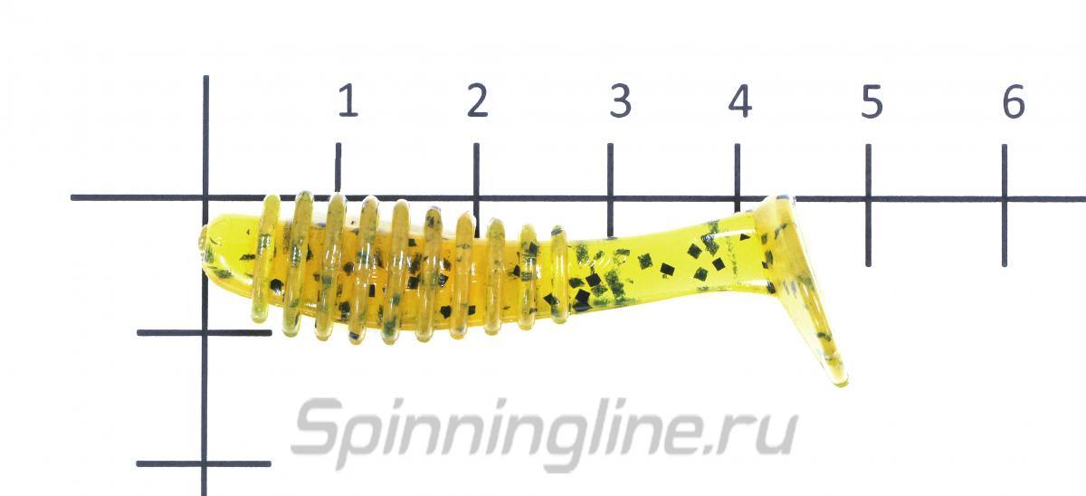 """Приманка Reins Bubbring Shad 2"""" 129 Glow Chart Silver - фото на размерной линейке (цвет может отличаться) 1"""