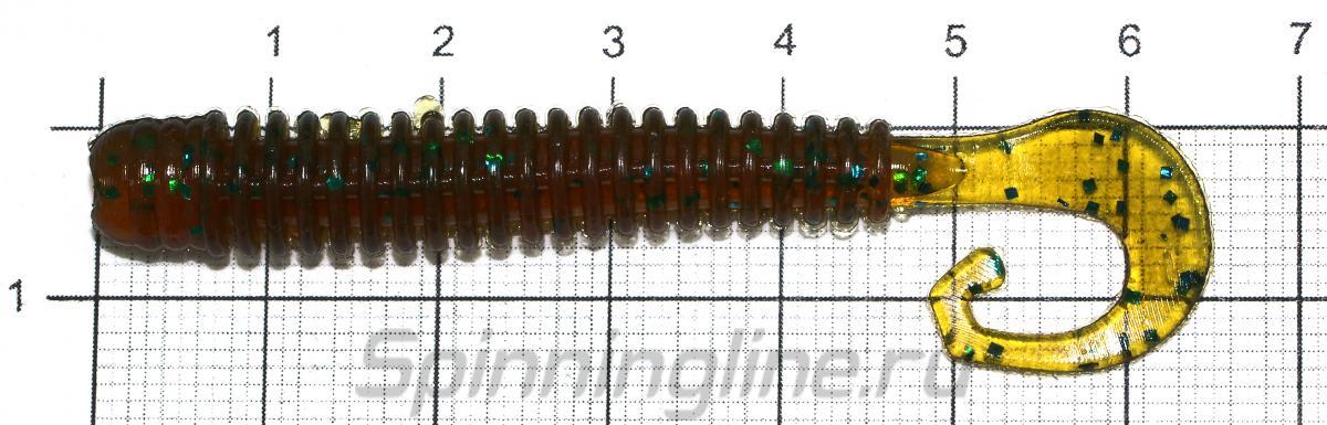 """Приманка Reins G-Tail Saturn 2.5"""" B17 Lemon Pepper - фото на размерной линейке (цвет может отличаться) 1"""