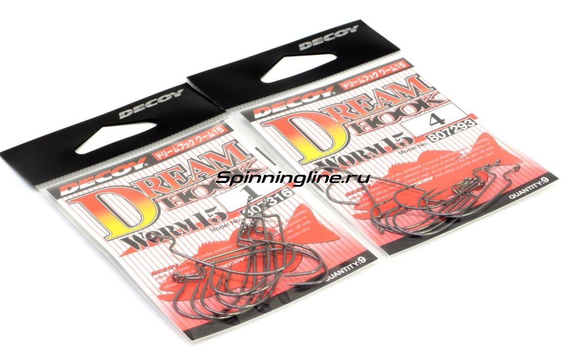Крючок Decoy Dream Hook Worm 15 №1/0 - Данное фото демонстрирует вид упаковки, а не товара. Товар на фото может отличаться по цвету, комплектации и т.д. Дизайн упаковки может быть изменен производителем 1
