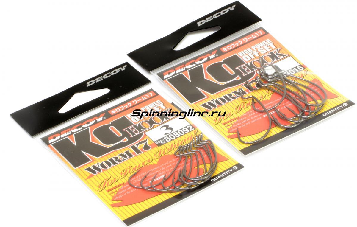 Крючок Decoy Kig Hook Worm 17 №6 - Данное фото демонстрирует вид упаковки, а не товара. Товар на фото может отличаться по цвету, комплектации и т.д. Дизайн упаковки может быть изменен производителем 1