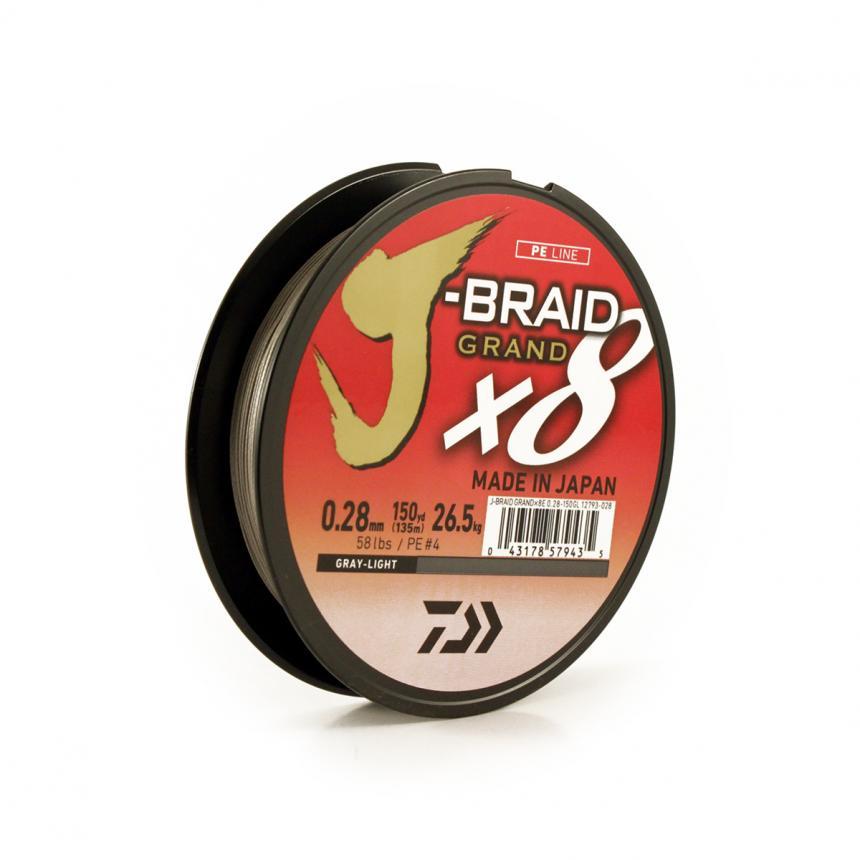 Шнур Daiwa J-Braid Grand X8 135м 0,20мм gray-light